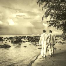 gay wedding beach_sepia